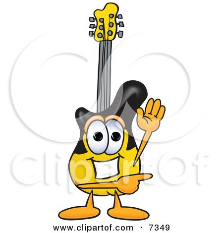 Clipart Picture of a Guitar Mascot Cartoon Character Waving and Pointing by Toons4Biz