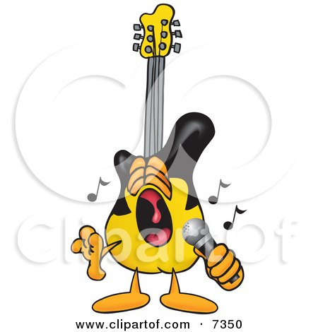 Clipart Picture of a Guitar Mascot Cartoon Character Singing Loud Into a Microphone by Toons4Biz
