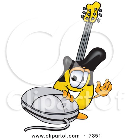 Clipart Picture of a Guitar Mascot Cartoon Character With a Computer Mouse by Toons4Biz