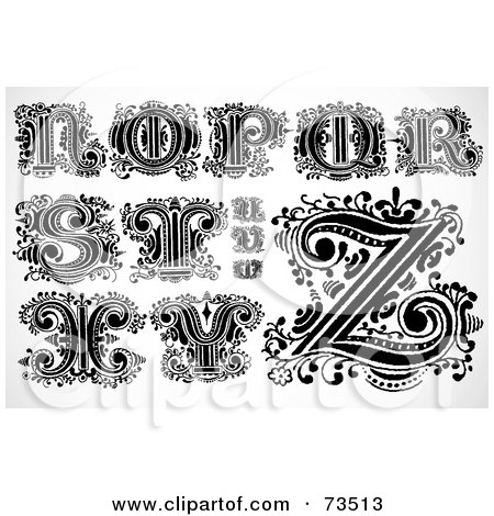 Royalty-Free (RF) Clipart Illustration of a Digital Collage Of Scrolly Leaf Black And White Letters; N Through Z by BestVector
