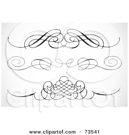 Royalty-Free (RF) Clipart Illustration of a Digital Collage Of Black And White Elegant Swirl Border Elements - Version 3 by BestVector