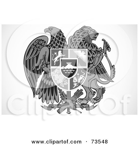 Royalty-Free (RF) Clipart Illustration of a Black And White Shield With A Lion And Eagle by BestVector