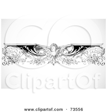 Royalty-Free (RF) Clipart Illustration of a Black And White Intricate Angel Border Design Element by BestVector