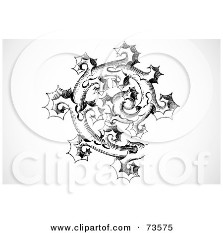 Royalty-Free (RF) Clipart Illustration of a Black And White Vintage Spiraling Thorny Branch by BestVector