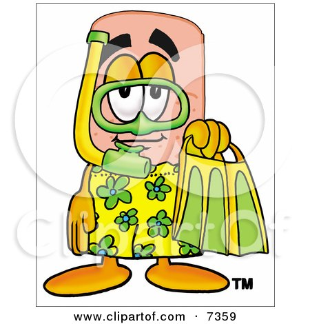 Clipart Picture of a Bandaid Bandage Mascot Cartoon Character in Green and Yellow Snorkel Gear by Toons4Biz
