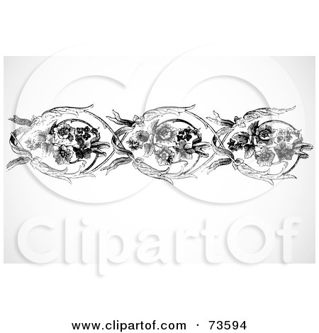 Royalty-Free (RF) Clipart Illustration of a Black And White Floral Border Of Roses And Long Leaves by BestVector