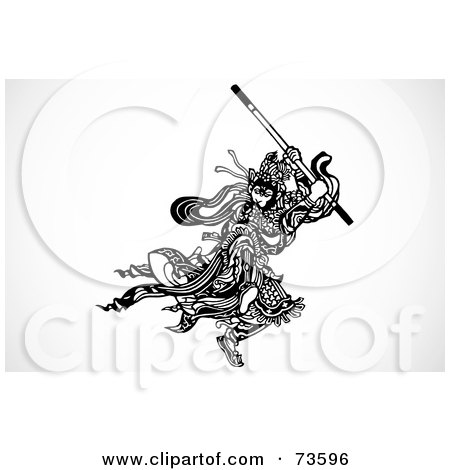 Royalty-Free (RF) Clipart Illustration of a Black And White Samurai Warrior Fighting With A Stick by BestVector