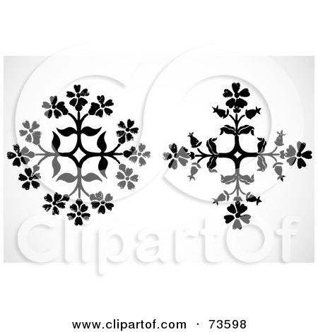 Royalty-Free (RF) Clipart Illustration of a Digital Collage Of Two Black And White Floral Snowflakes by BestVector