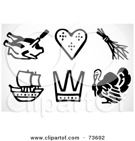 Royalty-Free (RF) Clipart Illustration of a Digital Collage Of Black And White Thanksgiving Icon Elements by BestVector