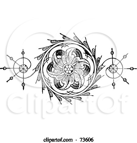 Royalty-Free (RF) Clipart Illustration of a Black And White Floral Element With Swirls And Leaves by BestVector