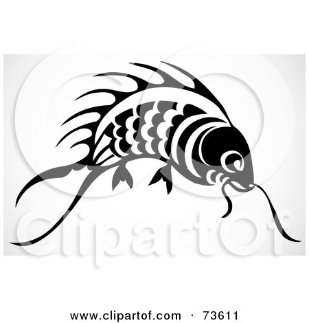 Royalty-Free (RF) Clipart Illustration of a Black And White Koi Fish by BestVector