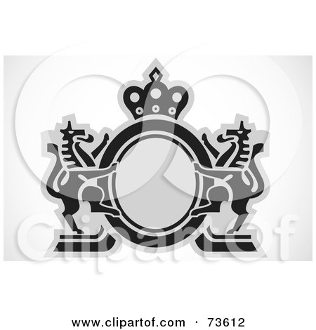 Royalty-Free (RF) Clipart Illustration of a Black And Gray Lion Crest Design by BestVector
