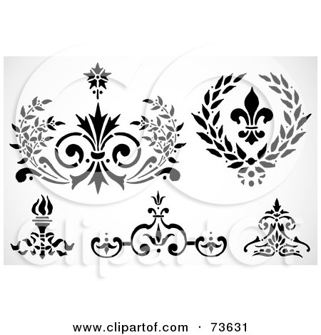Royalty-Free (RF) Clip Art Illustration of a Digital Collage Of Black And White Fleur De Lis Elements by BestVector