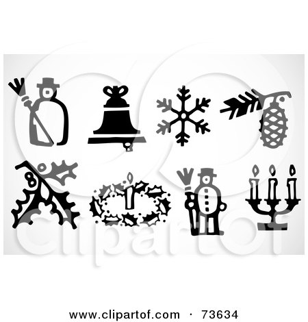 Royalty-Free (RF) Clipart Illustration of a Digital Collage Of Black And White Icon Christmas Elements by BestVector