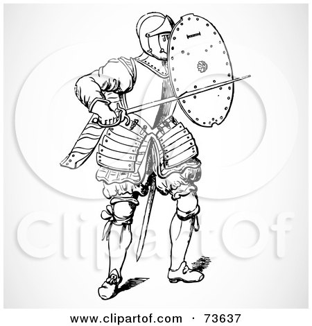 Royalty-Free (RF) Clipart Illustration of a Black And White Knight With A Shield And Sword by BestVector