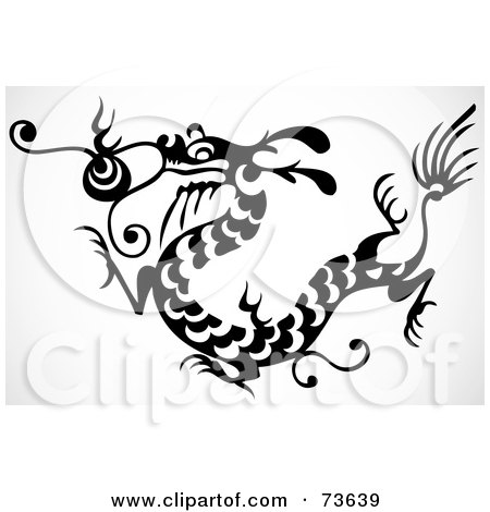 Royalty-Free (RF) Clipart Illustration of a Black And White Long Dragon With Scales by BestVector