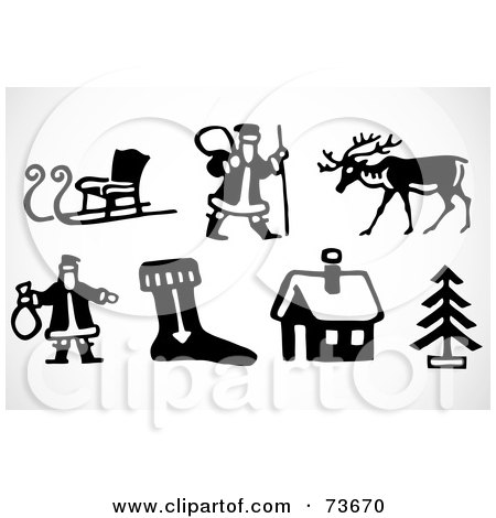 Royalty-Free (RF) Clipart Illustration of a Digital Collage Of Black And White Icon Elements; Christmas by BestVector