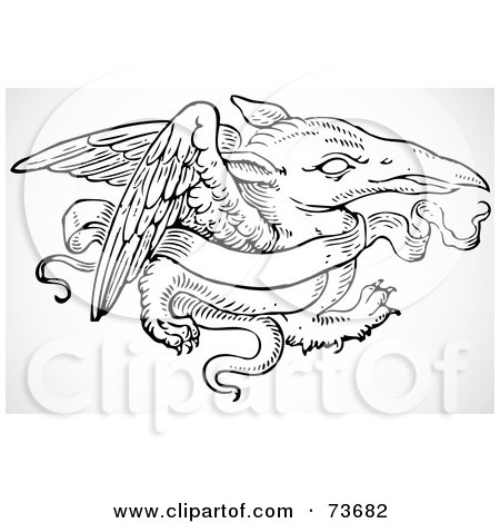 Royalty-Free (RF) Clipart Illustration of a Black And White Dragon With A Blank Banner by BestVector