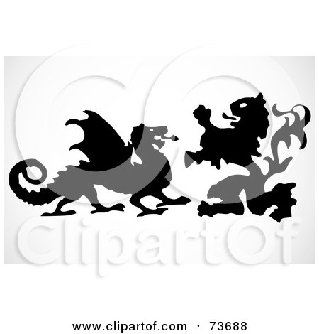 Royalty-Free (RF) Clipart Illustration of a Digital Collage Of A Silhouetted Lion And Dragon Fighting by BestVector