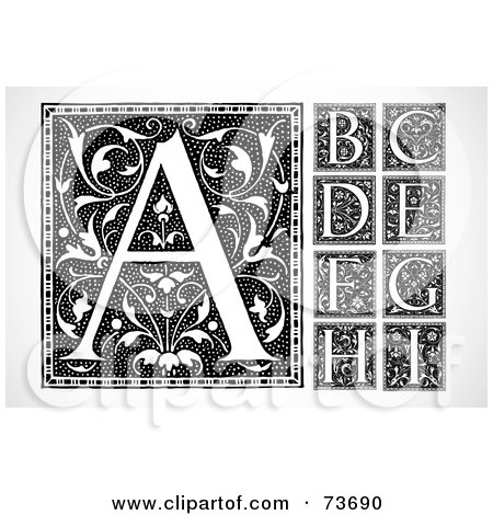 Royalty-Free (RF) Clipart Illustration of a Digital Collage Of Black And White Elegant Vintage Floral Letter Squares; A Through I by BestVector