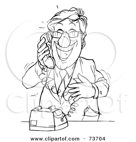 Royalty-Free (RF) Clipart Illustration of a Black And White Outline Of A Happy Businessman On A Phone by Alex Bannykh