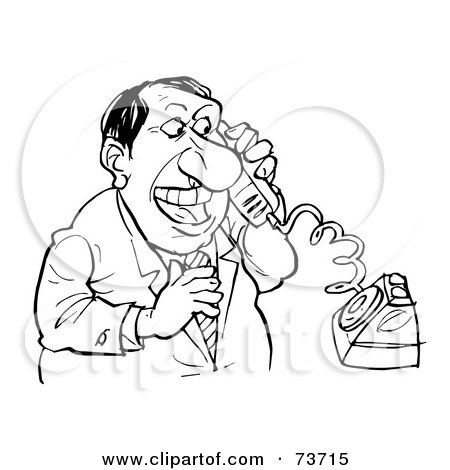 Royalty-Free (RF) Clipart Illustration of a Black And White Outline Of A Businessman On The Phone by Alex Bannykh
