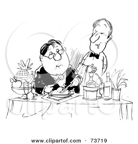 Cartoon Of A Gluttonous Obese Man Eating A Feast