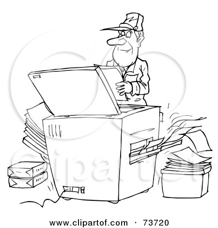 Cartoon Of A Happy Copier Mascot Holding A Piece Of Paper ...