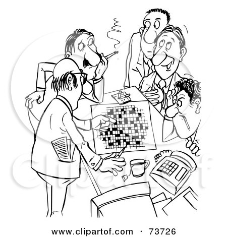 Royalty-Free (RF) Clipart Illustration of a Black And White Outline Of Men Working On A Crossword Puzzle by Alex Bannykh