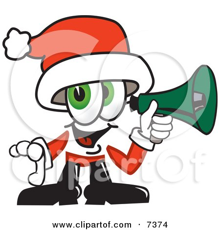 Clipart Picture of a Santa Claus Mascot Cartoon Character Screaming Into a Megaphone by Toons4Biz