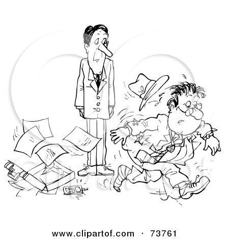 Royalty-Free (RF) Clipart Illustration of a Black And White Outline Of A Rushed Man Dropping His Stuff by Alex Bannykh