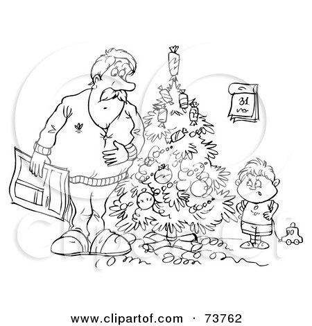 Royalty Free RF Clipart Illustration Of A Black And White Outline Dad Boy By Christmas Tree Alex Bannykh