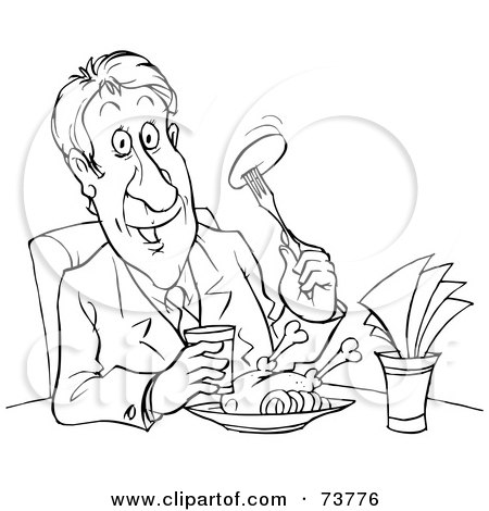 Royalty-Free (RF) Clipart Illustration of a Black And White Outline Of A Man Dining by Alex Bannykh