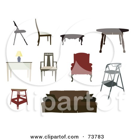 Royalty-Free (RF) Clipart Illustration of a Digital Collage Of Furniture; Chairs, Tables, Desk, Step Stool, Stool And Couch by JR
