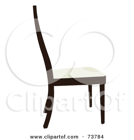 Royalty-Free (RF) Clipart Illustration of a Simple Dark Wood Chair With A White Seat by JR