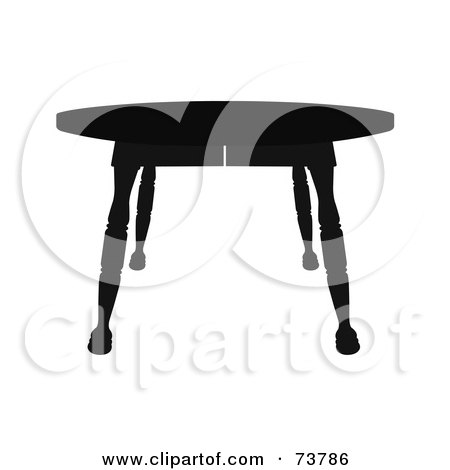 Royalty-Free (RF) Clipart Illustration of a Black Silhouette Of A Wooden Side Table by JR