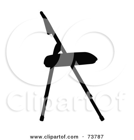 Royalty-Free (RF) Clipart Illustration of a Silhouetted Black Folding Chair In Profile by JR