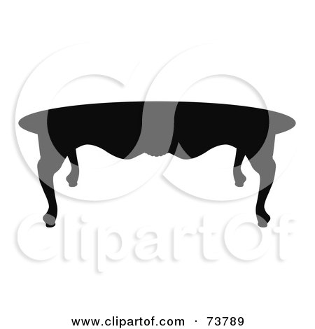 Royalty-Free (RF) Clipart Illustration of a Black Silhouette Of A Wooden Ornate Coffee Table by JR