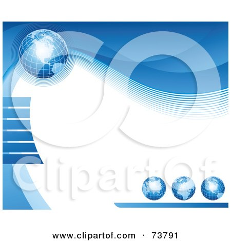 Royalty-Free (RF) Clipart Illustration of a Background Of Four Blue Grid Globes With Waves Around White Text Space by elena