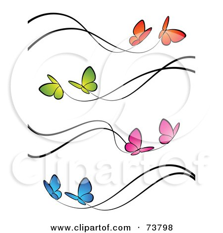 Royalty-Free (RF) Clipart Illustration of a Digital Collage Of Orange, Green, Pink And Blue Butterflies With Black Trails by elena