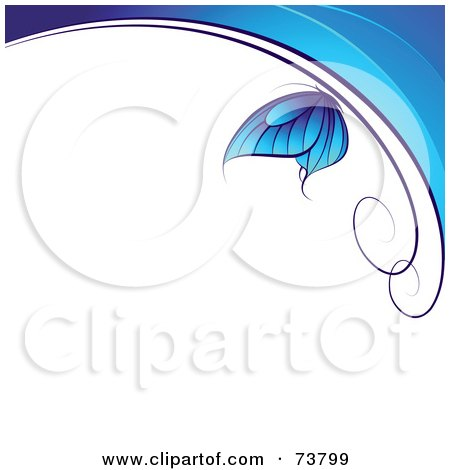 Royalty-Free (RF) Clipart Illustration of a Blue Butterfly Over Waves With White Text Space by elena