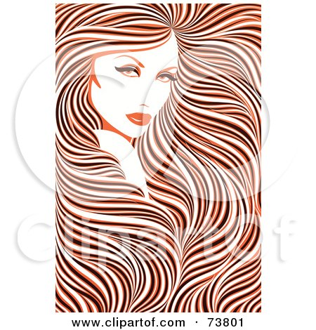 Royalty-Free (RF) Clipart Illustration of a Stunning Woman With Long Hair Flowing Around Her Face - Orange, Black And White Coloring by elena