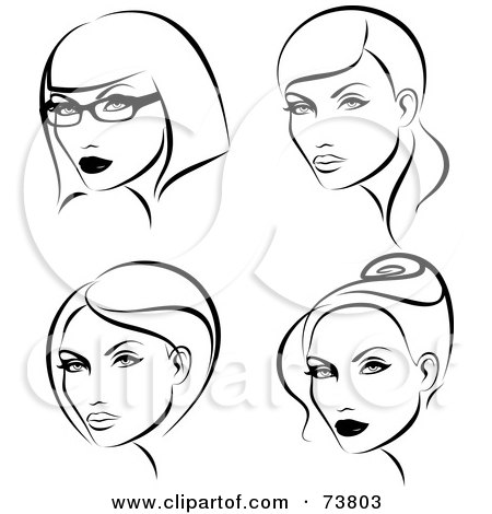Royalty-Free (RF) Clipart Illustration of a Digital Collage Of Black And White Ladies With Four Hair Styles by elena