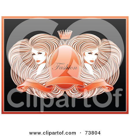 Two Gorgeous Women With Long Straight Hair, Around A Crest With A Banner And Crown With Fashion Text Posters, Art Prints