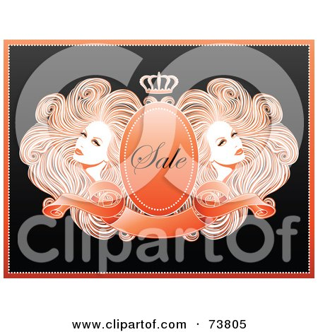 Royalty-Free (RF) Clipart Illustration of Two Gorgeous Women With Long Wavy Hair, Around A Crest With A Banner And Crown With Sale Text by elena