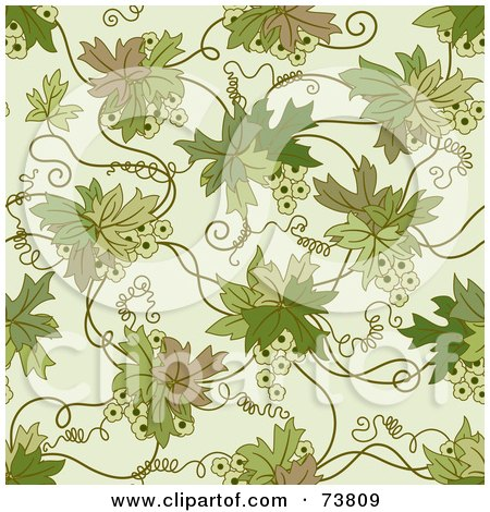 Royalty-Free (RF) Clipart Illustration of a Seamless Background Of A Green Floral Vine With Tendrils On Off White by elena