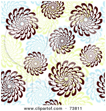 Royalty-Free (RF) Clipart Illustration of a Seamless Background Of Brown, Green And Blue Spiral Flowers by elena