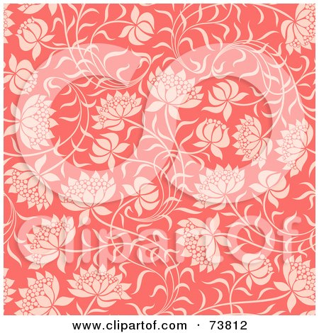Royalty-Free (RF) Clipart Illustration of a Seamless Background Of Pink Flowers On Slender Stems by elena