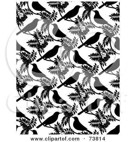 Royalty-Free (RF) Clipart Illustration of a Repeat Background Of Black Birds And Leaves On White by elena