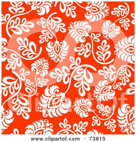 Royalty-Free (RF) Clipart Illustration of a Seamless Background Of White Flowers And Stems On Red by elena